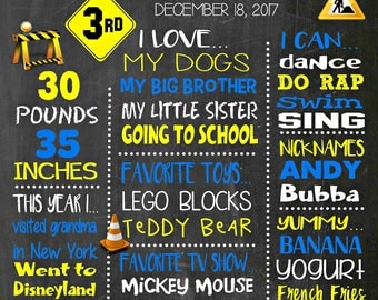 Construction Birthday Chalkboard Poster - Wall Art design - Birthday Party Poster Sign - Any Age
