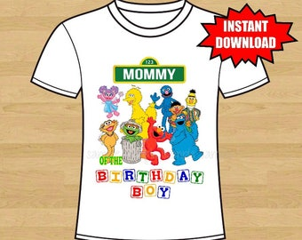 Sesame Street Birthday Iron On Shirt Transfer, Elmo Cookie monster tshirt or clip art printable Instant Download, Mommy of the Birthday Boy