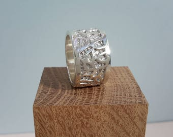 Hand carved sterling silver organic ring