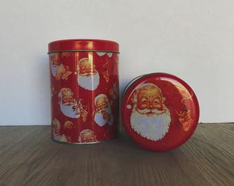 Santa Tin, Santa Canisters, Christmas Tins, Holiday Tin Set, Nesting Tins, Santa with his pipe, Christmas Set, Vintage Christmas, Xmas