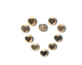 Love magnet Set of 10 magnets Refrigerator Fridge Gift for boyfriend Best friend Girls Mothers day Fathers Heart Under 10 Rustic decoration