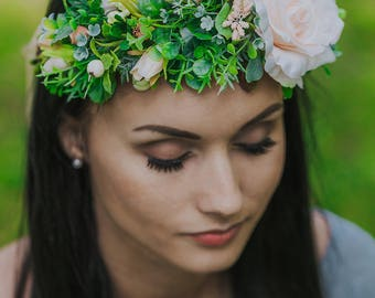 Flower crown, Flower crown wedding, LaCrown, Flower headband, Flower crown adult, Boho flower crown, Pink flower crown adult, Photo prop