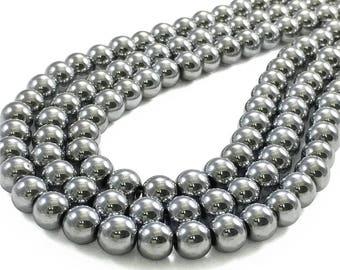10mm Silver Hematite Beads, Round Hematite Beads, Hematite Jewelry