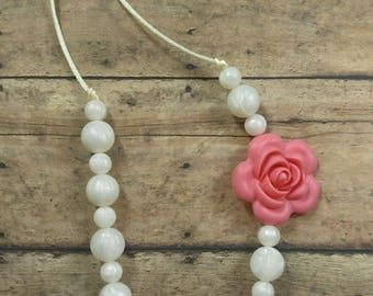 Teething necklace, rose teething necklace, nursing necklace, teether, fashion teether, silicone necklace, ready to ship necklace, chewelry