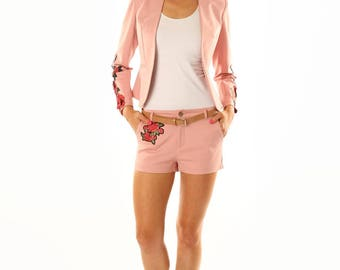 Womens Blazer and Short Set With Flower Embroidery and Applique