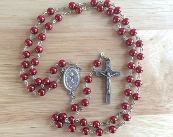 Handmade Catholic Rosary: Holy Ghost/Holy Family with Red Glass Pearl Beads