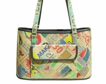 Handbag made of upcycled cardboard, FREE SHIPPING, Eco friendly bag, Recycled vegan tote bag, upcycling by milo, naveh milo, cement sack