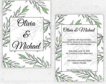 Printable Wedding Set / Invitation Kit / DIY / Green Leaves Wedding Invitation / RSVP / Details / Thank You Card [02]