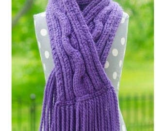 Chunky Cabled Scarf - Cabled Knit Scarf, Knit Cabled Scarf, Chunky Scarf, Chunky Knit Scarves, Hand Knit Scarves, Cable Knit