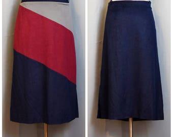 Tumbleweeds Blue/Gray/Maroon 70s Faux Suede Skirt
