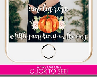 BABY SHOWER SNAPCHAT Filter, Snapchat Geofilter, A little Pumpkin is on the Way, Pregnancy Announcement, Pumpkin Snapchat,Baby Shower Filter