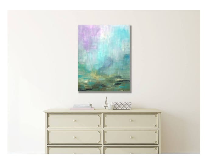 Abstract Landscape - Lavender Canvas Wrap Giclee, Lavandar, Teal sky, Impressionism, Modern Monet, Living Room, Beach House, Print Painting