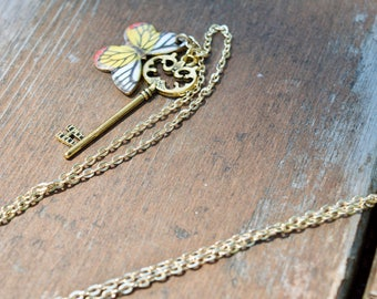 Gold key pendant with yellow butterfly charm long  /heart key necklace / key pendant necklace