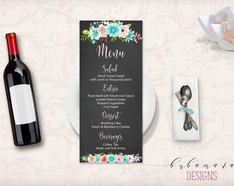 Mint Pink Floral Wedding Menu Boho Digital Chalkboard Printable Wedding Reception Blackboard Long Menu Card Bohemian Food Menu - WS010