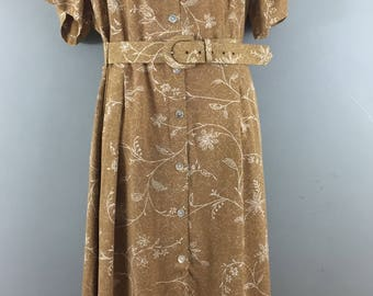Vintage M&S St Michael caramel tea dress UK 20 Matching belt Button through