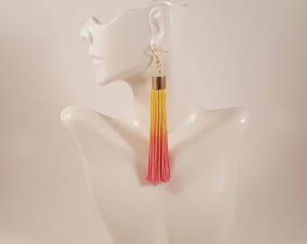 Tassel earrings, pink tassel earrings, yellow tassel earrings, ombre earrings, colorful earrings, statement earrings, gift for girlfriend