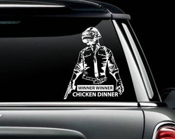 PUBG- Winner Winner Chicken Dinner- Player Unknown Battlegrounds Inspired Logo Decal- Vinyl Decals
