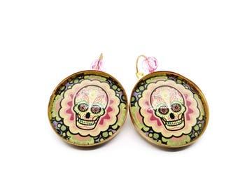 SALE 50% Calaveras earrings - skull Mexican - sugar skull - dia los muertos - day of the dead