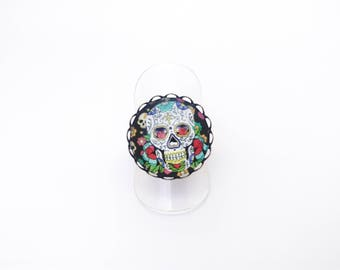 SALE 50% ring Calavera - skull Mexican - sugar skull - dia los muertos - day of the dead