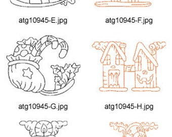 Redwork-Halloween-Alphabet-1 A-M ( 13 Machine Embroidery Designs from ATW ) XYZ17H