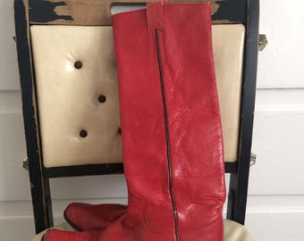 Tall Red Leather Boots