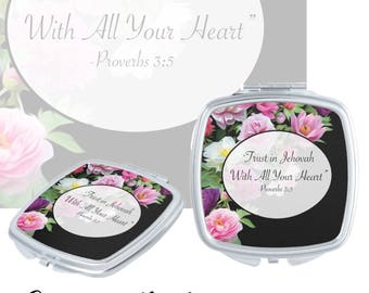 """JW.org gift,  Pioneer gifts. Proverbs  3:5  """"Trust Jehovah with all your heart"""" pink flower fields """" compact mirror"""