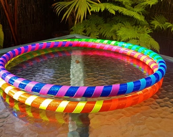 """3/4"""" 32"""" READY TO SHIP Rainbow Hula Hoop - Collapsible Polypro"""
