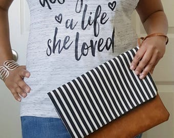 Black White Striped Clutch Bag, Striped Clutch Purse, Faux Leather Clutch, Large Clutch, Leather Clutch, Wristlet Clutch, Purse, Gift Idea