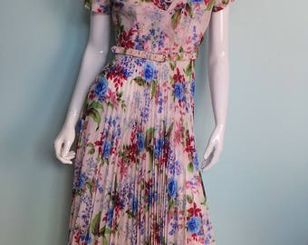 Late 50s Rose Print Girly Belted Dress, Accordion Pleated Pink Floral Gown, Pastel Watercolour Bouquet 50s Frock, by Eastex, 38in Bust,Small