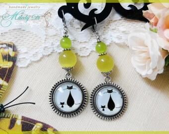 Cat lover earrings gift for wife Cat eye jewelry Yellow long earrings Cat cabochon earrings for girl Modern dangle earrings