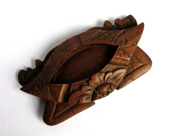 Oriental Carved Wooden Ashtray / Trinket Dish / Ring Dish / One Of A Kind / Carved Wood / Redwood / Asian / Boho / Ethnic / Man Cave / Rare