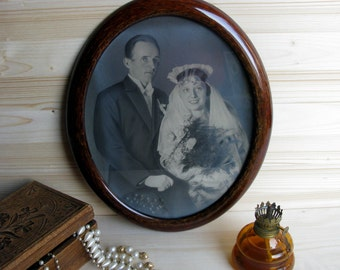 Antique / 1920s / Large / Wedding Portrait / Original / Photograph / Wood Frame / Photo / Picture / Oval / Black & White / Great Gatsby Deco