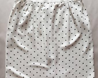 black polka dot mini skirt | 1990s white mini skirt