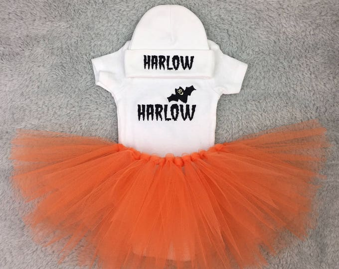 Baby girl Halloween outfit - preemie outfit, newborn outfit, baby shower gift, monogrammed baby clothes, take home outfit, NICU photography