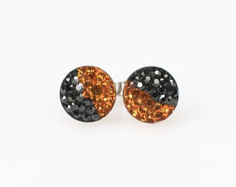 Sterling Silver Pave Radience Stud Earrings, Swarovsky Crystals, Half and Half, Jet Hema and Smokey Topaz, Unique Style Stud Earrings.