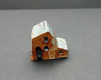 Little ceramic house, miniature clay house, small clay houses, tiny house, small ceramic house, terrarium decor, secret garden, Housewarming