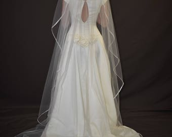 "108"" Angel Cut Cathedral Veil with 1/4"" Folded Satin Ribbon Edge"