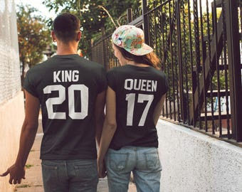 King Queen Shirts, King and Queen Couple T shirts Matching T-shirts, Valentine's Day Tees Matching Tshirts Couples Tees Wedding Gift Couples