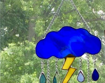 Stained Glass Lightning Cloud with Raindrops Suncatcher By Sparkle Stained Glass, Thunderstorm, Rain Cloud, Spring Decor, Summer Decor