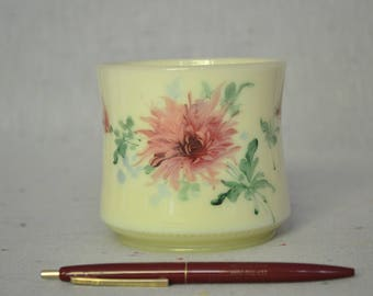 Vintage custard glass vase with hand painted flowers