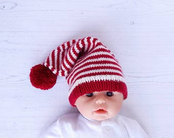 Hand knit baby santa hat-pixie hat photo prop-red white striped hat-red pom pom hat-0-3 months festive beanie-candy cane elf hat-other sizes