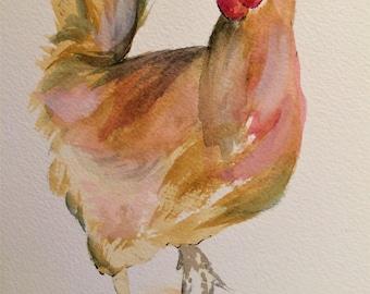 "Hen 12"" x 10"" Original watercolour painting"