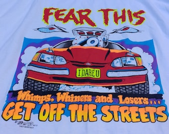 "Vintage ""Fear This"" No Fear Drag Racing 90's white t-shirt XL Made in Canada"