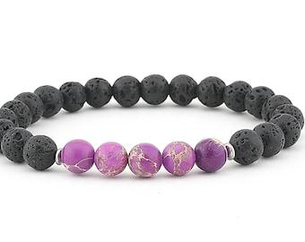 lava bead diffuser bracelet jewelry purple Imperial Impression Jasper aromatherapy jewelry gift gemstone bracelet beaded bracelet boho yoga