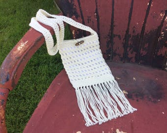 Vintage style cotton crochet 70s boho gypsy ivory/cream/off white purse with fringe and lined