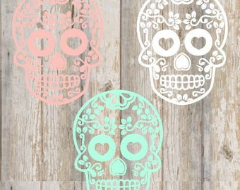 Sugar Skull Decal, Day of The Dead, Car Sticker, Laptop, Yeti