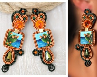 Soutache Earrings, Handmade Earrings, Hand Embroidered, Soutache Jewelry, Handmade in Italy, Swarovski earrings, Wooden earrings