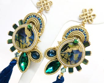 Soutache Earrings, Handmade Earrings, Hand Embroidered, Soutache Jewelry, Handmade in Italy, Swarovski earrings, Wooden earrings, Ooak