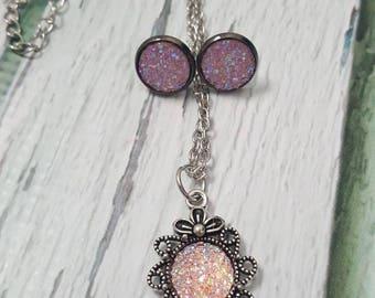 Tulgey Woods Faux Druzy Gems Jewelry, Pink Jewelry, Book Jewelry, Birthstone, Tourmaline, Fantasy Jewelry, Druzy Earring, Druzy Pendant