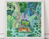 Tiger Print, Tiger Illustration, Rainforest Illustration, Jungle Print, Plants Print, Childrens decor, Nursery wall art, Animal print